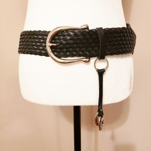 Michael Kors | Leather Braided Belt Silver Buckle